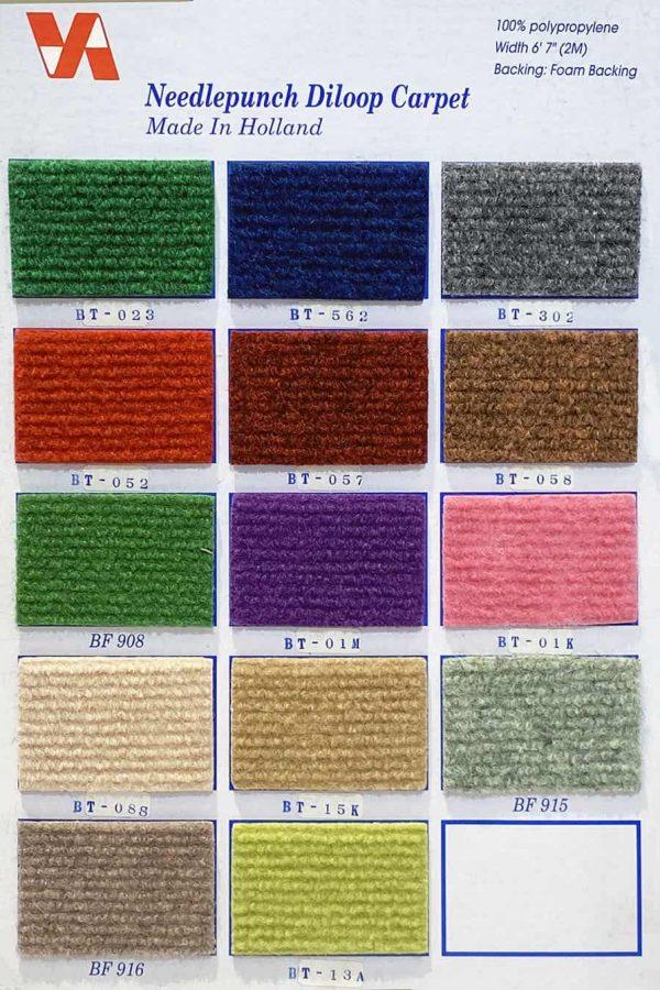荷蘭直紋展覽地毯及直紋有底展覽地毯 Holland Riva Foam Backing KK Carpet Quality: 100% Polypropylene Width: 6'7